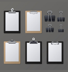 realistic clipboards with blank white paper sheet vector image vector image