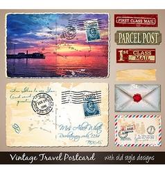 Travel Vintage Postcard Design with antique look vector image vector image