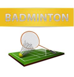 Badminton shuttlecock and racket emblem vector image vector image