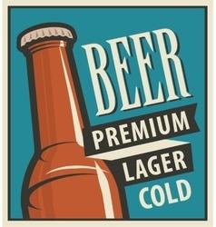 beer bottle in retro style vector image vector image