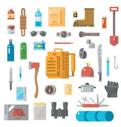 Flat design of suvival kit set vector image vector image
