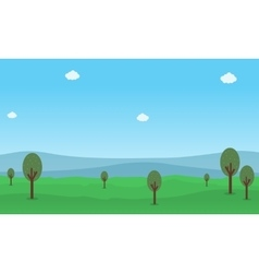 flat of hill and tree nature landscape vector image