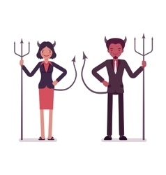 Pair of devils man and woman vector image