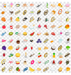 100 grocery icons set isometric 3d style vector