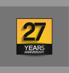 27 years anniversary in square yellow and black vector