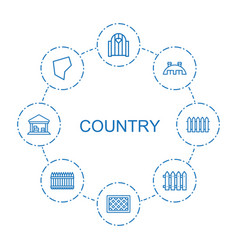 8 country icons vector