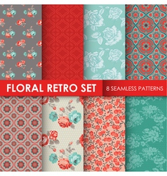 8 Seamless Patterns - Floral Retro Set vector image