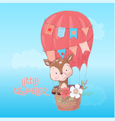 a cute deer balloon hand draw vector image