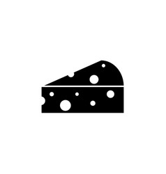 a piece of cheese icon meal black vector image