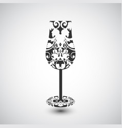 A wine glass with a pattern vector