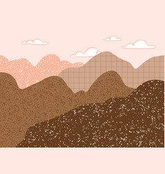 abstract pink and brown mountains landscape vector image