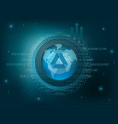 Achain cryptocurrency coin global background vector