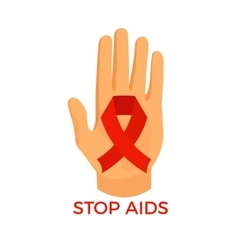 Aids awareness icon palm with the red ribbon loop vector