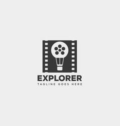 Air balloon movie cinema film roll simple logo vector