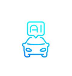 Autonomous car with ai line icon vector