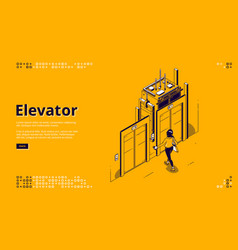 banner elevator house or office lift vector image