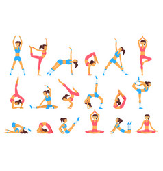 beautiful woman doing various exercises yoga vector image