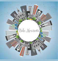 Belo horizonte skyline with gray buildings vector