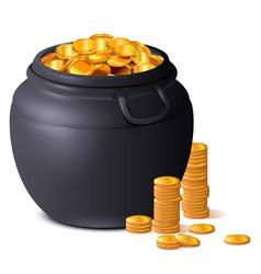 Big black pot full gold coins treasure luck st vector