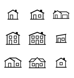 black houses icons set vector image