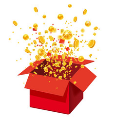 Box with coins exploision blast open red gift vector