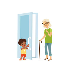 Boy opening the door to an elderly woman kids vector