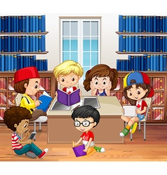 Boys and girls reading in library vector image