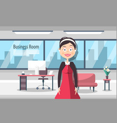 businesswoman in business room modern workplace vector image