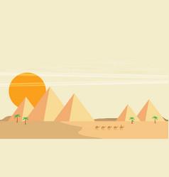 caravan of camels near egypt pyramids landscape vector image