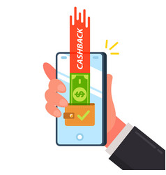 Cashback bills in wallet hand with a mobile vector