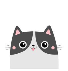 cat face head showing tongue cute cartoon kitten vector image