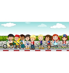 Children hanging out on the sidewalk vector