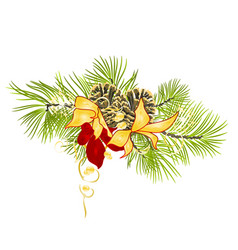 Christmas and new year decoration fir tree branch vector