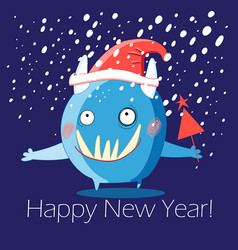 Christmas greeting card with a cheerful monster vector