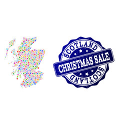 christmas sale collage of mosaic map of scotland vector image