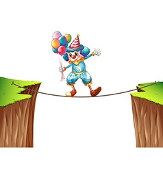 Clown with balloons on the rope vector