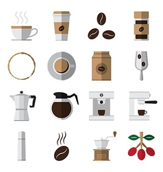 Coffee and tea flat icons vector