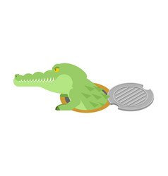 Crocodile in sewer hatch alligator in manhole vector
