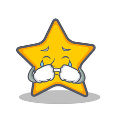 crying star character cartoon style vector image