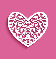 curly lace heart cutting template vector image