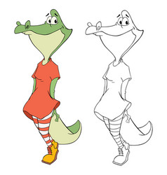 cute alligator cartoon character vector image