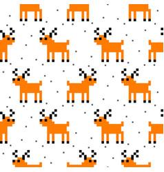 cute deer cartoon pixel art seamless pattern vector image