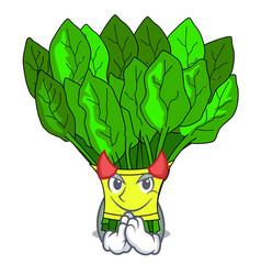 Devil fresh spinach vegetables in character fridge vector