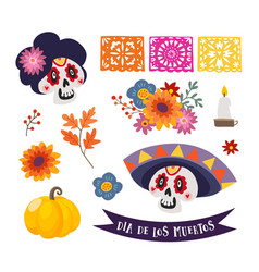dia de los muertos isolated graphic objects vector image