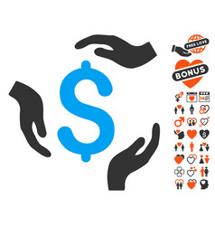 Dollar care hands icon with lovely bonus vector