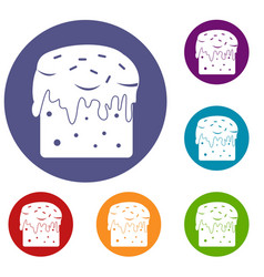 Easter cake icons set vector