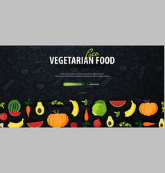 Eco vegetarian food hand-draw doodle background vector