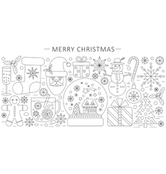 elegant thin outline line Christmas and vector image
