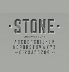 engraved on stone font alphabet letters vector image