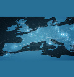 europe blue map big data vector image